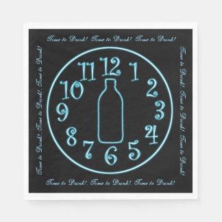 Neon Clock, Beer Bottle, Time to Drink! Napkins Disposable Serviette