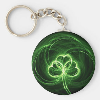 Neon Clover Fractal Basic Round Button Key Ring