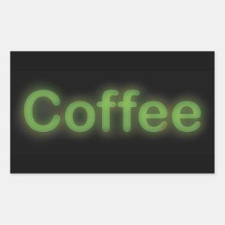 Neon Coffee Rectangular Sticker