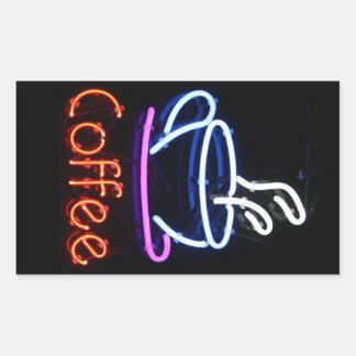 Neon Coffee Sign on Black Rectangular Sticker