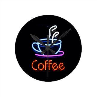 Neon Coffee Sign Round Clock