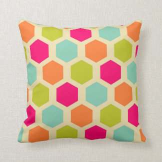 Neon Colored Beehive Pattern Pillow