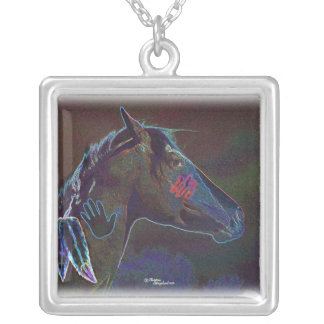 Neon colored Paint Horse War Pony Necklace