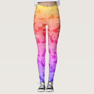 Neon Colorful Girly Hand Drawn Shoes Pink Cool Leggings