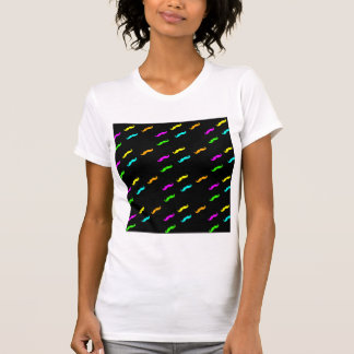 Neon Colors Curly Mustache On Black T-Shirt