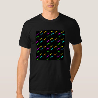 Neon Colors Curly Mustache On Black Tee Shirt