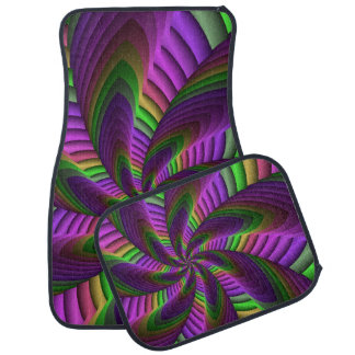 Neon Colors Flash Crazy Colorful Fractal Pattern Car Mat