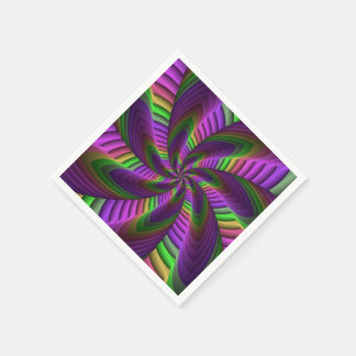Neon Colors Flash Crazy Colorful Fractal Pattern Disposable Serviette