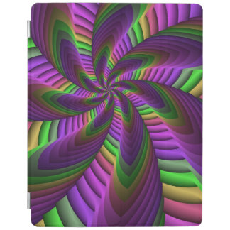 Neon Colors Flash Crazy Colorful Fractal Pattern iPad Cover