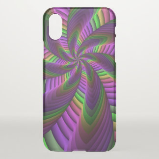Neon Colors Flash Crazy Colorful Fractal Pattern iPhone X Case