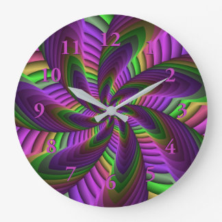 Neon Colors Flash Crazy Colorful Fractal Pattern Large Clock