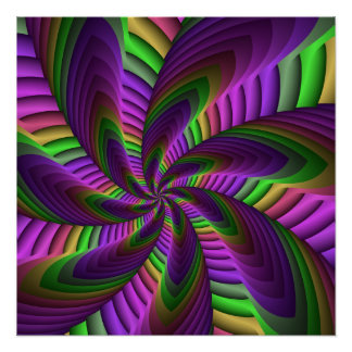 Neon Colors Flash Crazy Colorful Fractal Pattern Poster