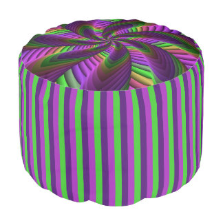 Neon Colors Flash Crazy Colorful Fractal Pattern Pouf