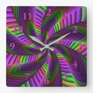 Neon Colors Flash Crazy Colorful Fractal Pattern Square Wall Clock