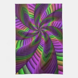 Neon Colors Flash Crazy Colorful Fractal Pattern Tea Towel
