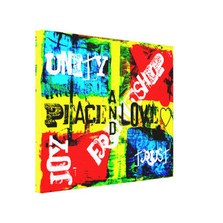 Neon Colors Peace & Love Canvas Print