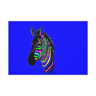 Neon, Colourful, Zebra Canvas Print