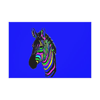 Neon Colourful Zebra Canvas Print