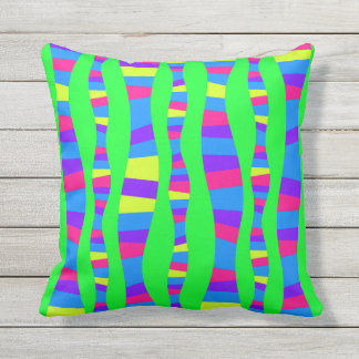 Neon Colours Retro Modern Pattern Psychedelic Outdoor Cushion