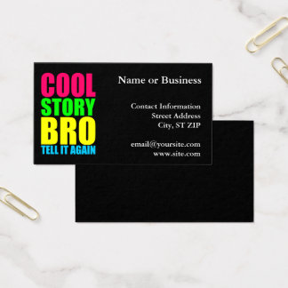 Neon Cool Story Bro Business Card