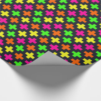 Neon Crosses on Blue-Black Wrapping Paper