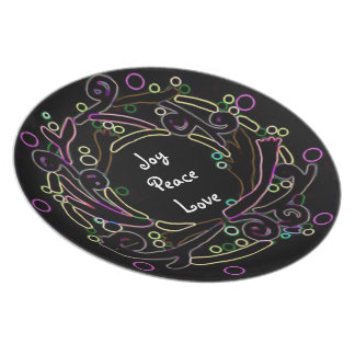 Neon Decorative Holiday Wreath Plate
