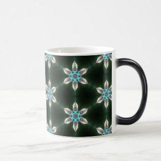 Neon Diamond Flowers on Black Morphing Mug