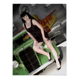 Neon Diner Hot Rod Betty Pin Up Girl Poster 1