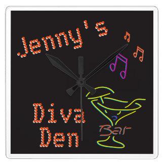 Neon Diva Den Timepiece Square Wallclocks