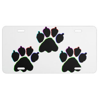 NEON DOG PAWS LICENSE PLATE