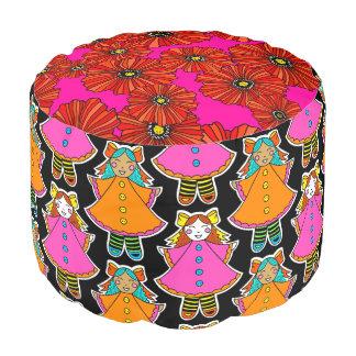 Neon dollies poppy print boho pouf