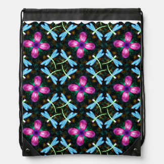 Neon Dragonflies Pink Flower Black Shimmer Pattern Drawstring Bag