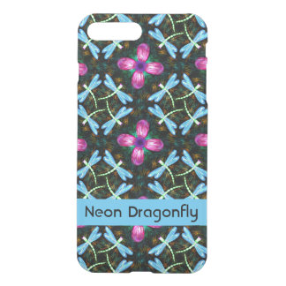 Neon Dragonflies Pink Flower Black Shimmer Pattern iPhone 7 Plus Case
