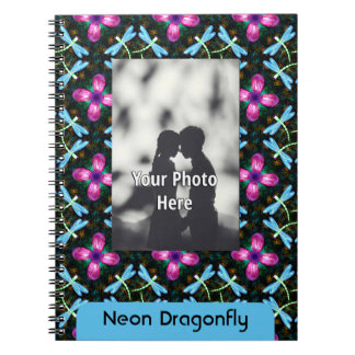 Neon Dragonflies Pink Flower Black Shimmer Pattern Note Books
