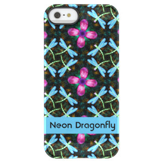Neon Dragonflies Pink Flower Black Shimmer Pattern Permafrost® iPhone SE/5/5s Case