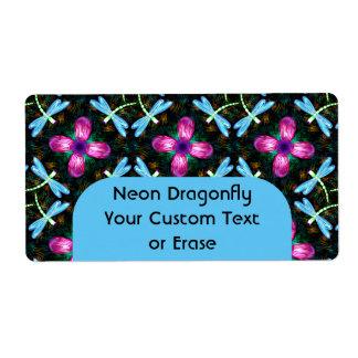 Neon Dragonflies Pink Flower Black Shimmer Pattern Shipping Label