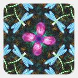 Neon Dragonflies Pink Flower Black Shimmer Pattern Square Sticker