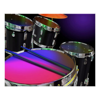 Neon Drums Poster