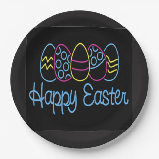 Neon Easter Easter Party Paper Plate 9 Inch Paper Plate