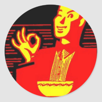 Neon Eating Man Classic Round Sticker