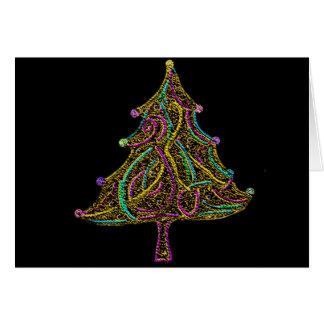 Neon Electric Christmas Tree Card