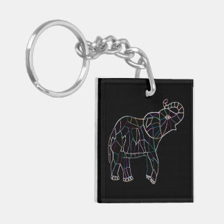 Neon Electric Elephant Keychain