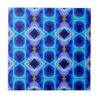 Neon Electrical Blue Abstract Pattern Small Square Tile