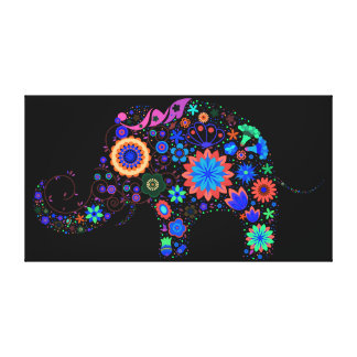 Neon Elephant Stretched Canvas Print