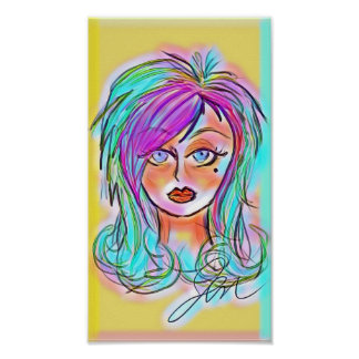Neon Emo Chick Poster