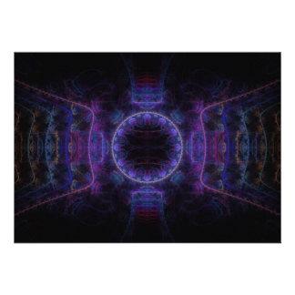 Neon Fame Fractal Art Custom Invitation