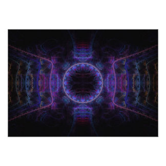 """Neon Fame"" Fractal Art Custom Invitation"