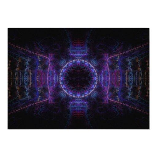 """""""Neon Fame"""" Fractal Art Custom Invitation"""