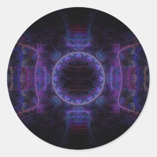 """""""Neon Fame"""" Fractal Art Round Sticker"""