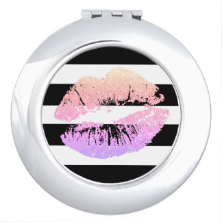 Neon Faux Glitter Pink Lips Round Compact Mirror